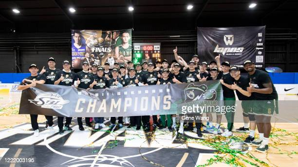 Team Taiwan Beer celebrates after d the SBL Finals Game Six between Taiwan Beer and Yulon Luxgen Dinos at Hao Yu Trainning Center on April 30, 2020...