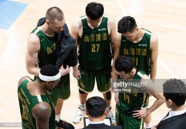 Team Taiwan Beer discuss at the court side during the SBL Finals Game Six between Taiwan Beer and Yulon Luxgen Dinos at Hao Yu Trainning Center on...