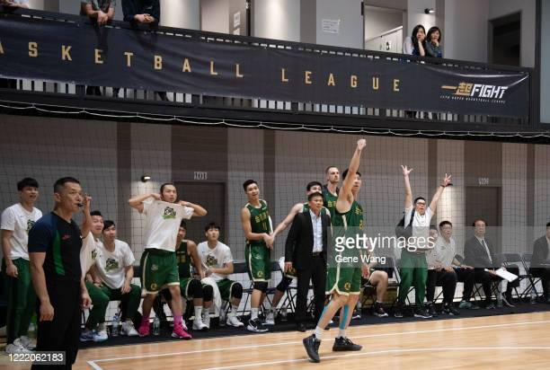 Team Taiwan Beers celebrates after Po Hsun Chou of Taiwan Beer made a three point shot during the SBL Finals Game Six between Taiwan Beer and Yulon...