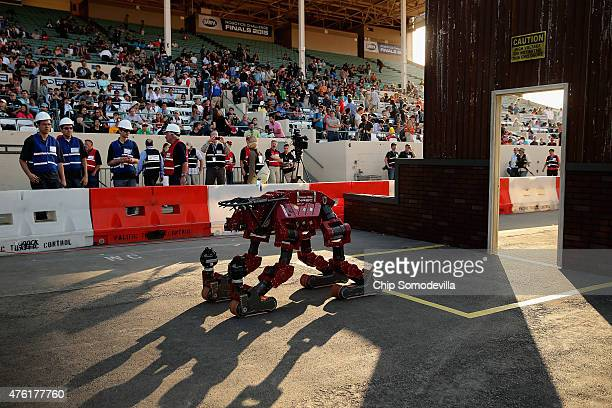 Team Tartan Rescue's CHIMP robot competes in the Defense Advanced Research Projects Agency Robotics Challenge at the Fairplex June 6 2015 in Pomona...