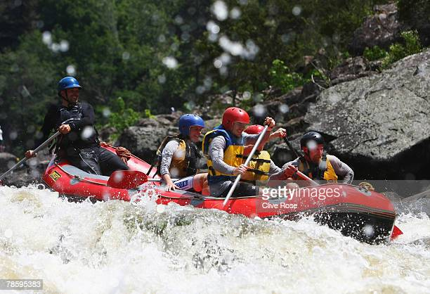Team Tassal Salamanca in action during the rafting section of the Launceston Gorge stage on day three of the Mark Webber Challenge on November 20...