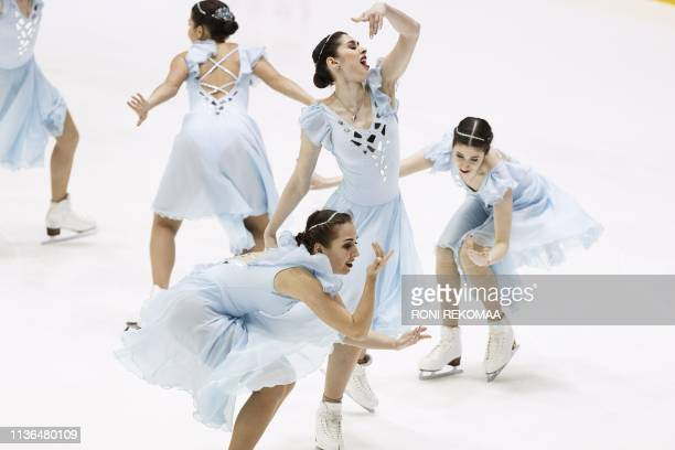 Team Tatarstan from Russia perform their short program during the ISU World Synchronized Skating Championships 2019 in Helsinki Finland on April 12...