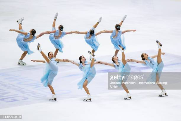 Team Tatarstan of Russia perform in the Short Program during day one of the ISU World Synchronized Skating Championships at Helsinki Arena on April...