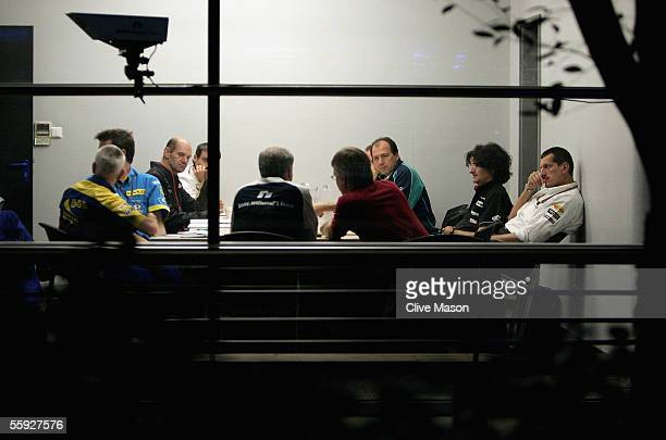 Team technical directors meet on the eve of the Chinese F1 Grand Prix at the Shanghai International Circuit on October 15 2005 in Shanghai China