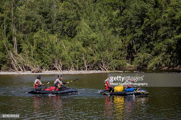 Team Technu from Canada starting the packraft leg down the Shoalhaven River during the Adventure Race World Championship on November 13 2016 in...