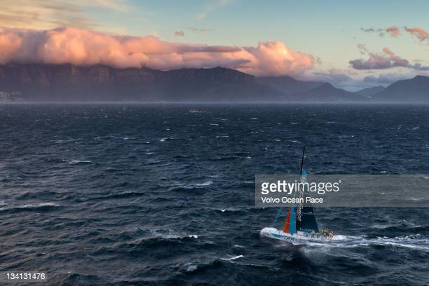 Team Telefonica, skippered by Iker Martinez from Spain finishes first on leg 1 of the Volvo Ocean Race 2011-12, from Alicante, Spain, to Cape Town,...