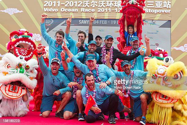 Team Telefonica, skippered by Iker Martinez from Spain finishes first on leg 3 of the Volvo Ocean Race 2011-12 from Abu Dhabi, UAE, to Sanya, China.