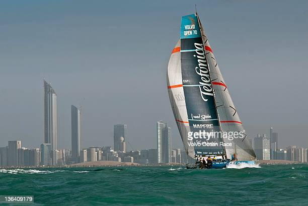 Team Telefonica, skippered by Iker Martinez from Spain take first place at the finish of leg 2 of the Volvo Ocean Race 2011-12 from Cape Town, South...