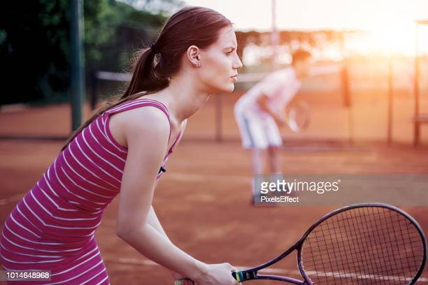 team tennis - doubles stock photos and pictures