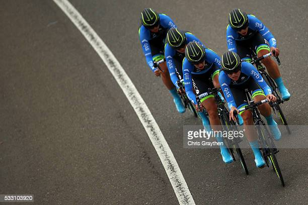 Team Tibco-Svb rides in the stage two team time trial of the Amgen Breakaway from Heart Disease Women's Race on May 20, 2016 in Folsom, California.