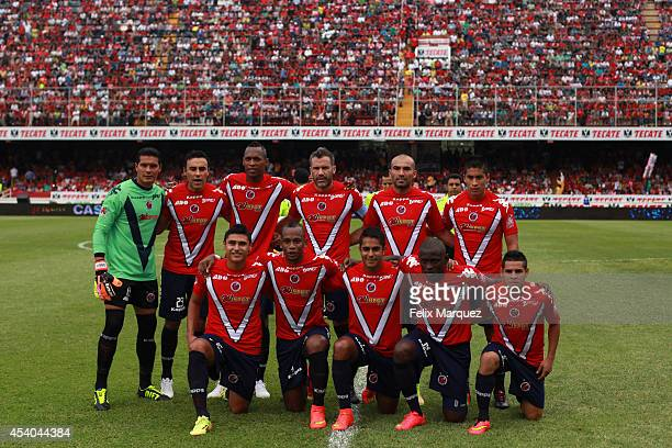 Team Tiburones Rojos de Veracruz poses for the official photo prior a match between Veracruz and Chivas as part of 6th round Apertura 2014 Liga MX at...