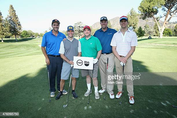 Team TNT with actor Adam Baldwin pose on the tee during The Screen Actors Guild Foundation's 6th Annual Los Angeles Golf Classic on June 8 2015 in...