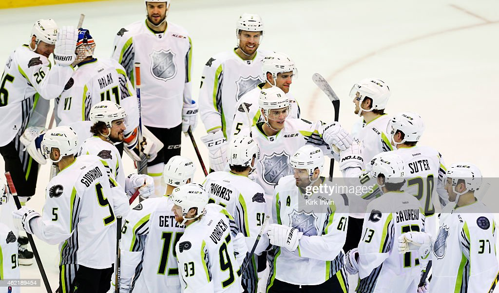 Team Toews celebrates their 17 to 12 win over Team Foligno during the 2015 Honda NHL All-Star Game at Nationwide Arena on January 25, 2015 in Columbus, Ohio.
