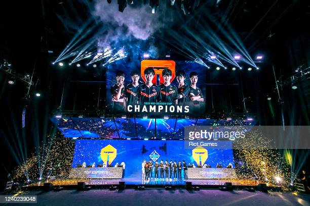 Team Top Esports of the League of Legends Pro League celebrate winning the League of Legends MidSeason Cup finals at the LPL Arena on May 31 2020 in...