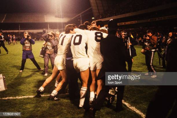 Team Tottenham celebrate the victory during the UEFA Final Cup second leg match between Tottenham and Anderlecht at White Hart Lane London England...