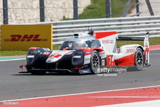 Team Toyota Gazoo Racing's Toyota TS050 Hybrid with driver team Mike Conway Kamui Kobayashi and Jose Maria Lopez during Free Practice 2 at the WEC...