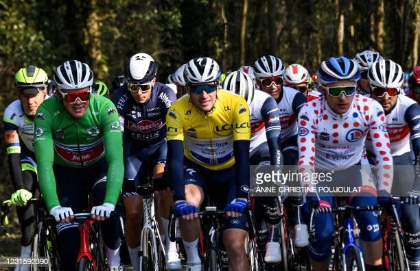 Team Trek rider Denmark's Mads Pedersen wearing the best sprinter's green jersey, Team Deceuninck rider Ireland's Sam Bennett wearing the overall...