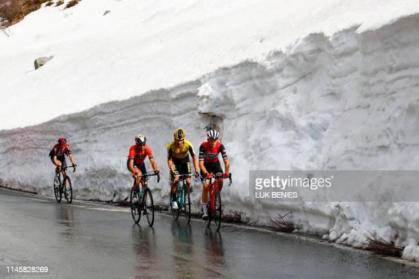 Team Trek rider Italy's Giulio Ciccone Team Jumbo rider Slovenia's Primoz Roglic Team Bahrain rider Italy's Vincenzo Nibali and Team Ineos rider...