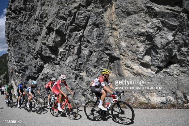 Team Trek rider Latvia's Toms Skujins, Team Cofidis rider France's Anthony Perez, Team Deceuninck rider Denmark's Kasper Asgreen, Team AG2R La...