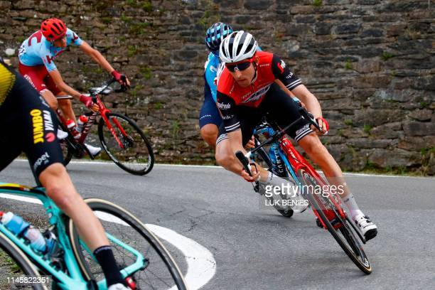 Team Trek rider Netherlands' Bauke Mollema takes part in stage twelve of the 102nd Giro d'Italia - Tour of Italy - cycle race, 158kms from Cuneo to...