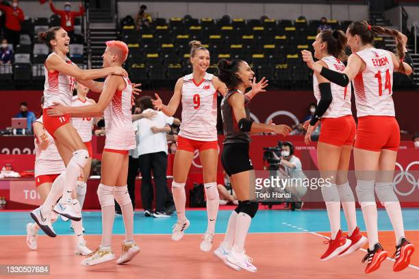 Team Turkey celebrates after defeating Team China during the Women's Preliminary - Pool B on day two of the Tokyo 2020 Olympic Games at Ariake Arena...