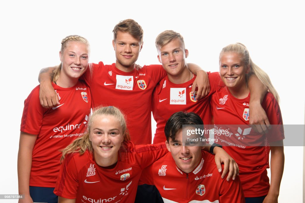 Team U19 men and woman of Norway during Photocall at Thon Arena on July 12, 2018 in Lillestrom, Norway.