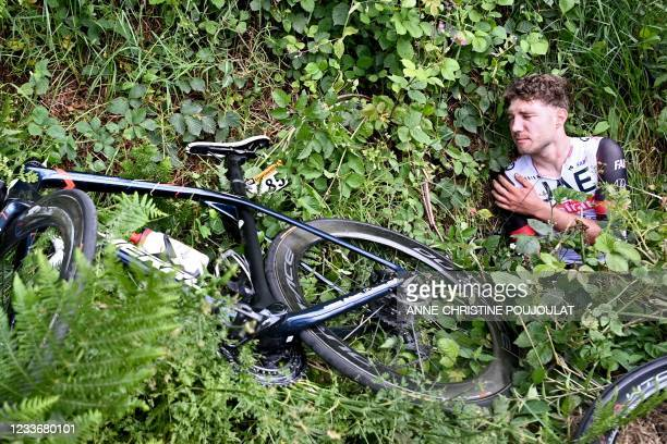 Team UAE Emirates' Marc Hirschi of Switzerland holds his shoulder after a crash during the 1st stage of the 108th edition of the Tour de France...