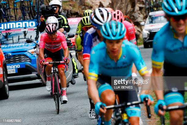 Team UAE Emirates rider Slovenia's Jan Polanc wearing the overall leader's pink jersey rides during stage thirteen of the 102nd Giro d'Italia - Tour...