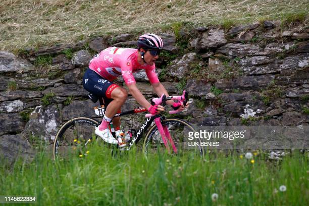 Team UAE Emirates rider Slovenia's Jan Polanc wearing the pink jersey takes part in stage twelve of the 102nd Giro d'Italia Tour of Italy cycle race...
