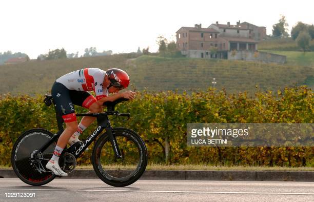 Team UAE Emirates rider US Brandon McNulty competes during the fourteenth stage of the Giro d'Italia 2020 cycling race, a 34,1-kilometer individual...