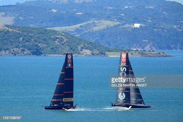 Team UK and Luna Rossa Prada Pirelli attend a training session on Auckland Harbour as covid delays further racing of the Prada Cup 2021, the...
