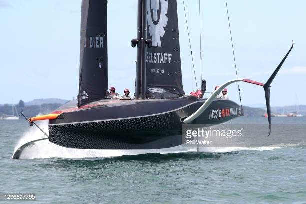Team UK competes against New York Yacht Club American Magic in Round two, race 1 during the 2021 PRADA Cup Round Robins on Auckland Harbour on...