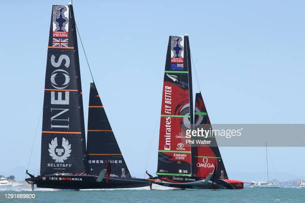 Team UK, skippered by Ben Ainslie and Emirates Team New Zealand skippered by Peter Burling during the America's Cup World Series on Auckland Harbour...