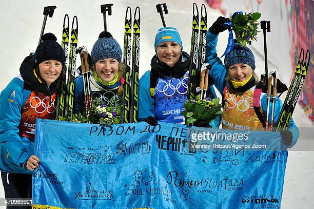 Team Ukraine celebrates winning the gold medal during the Biathlon Women's Relay at the Laura Crosscountry Ski Biathlon Center during the Sochi 2014...