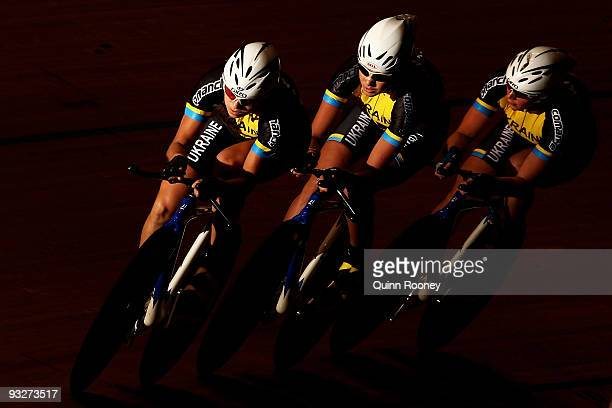 Team Ukraine competes in the Women's Team Pursuit during day three of 2009 UCI Track World Cup at Hisense Arena on November 21, 2009 in Melbourne,...