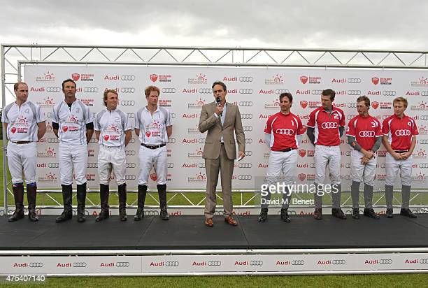 Team Ultra players Prince William Duke of Cambridge John Paul Clarkin Mark Tomlinson and Prince Harry Andre Konsbruck Director of Audi UK and Team...