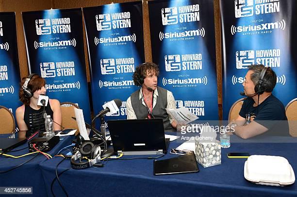 Team Unicorn member Alison Haislip radio personality Ralph Cirella and DC Entertainment CoPublisher Jim Lee attends Howard Stern's 'Geektime' Live...