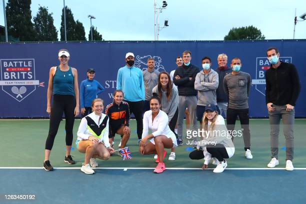 Team Union Jack pose for a photo during day seven of the St James's Place Battle Of The Brits Team Tennis at National Tennis Centre on August 02 2020...