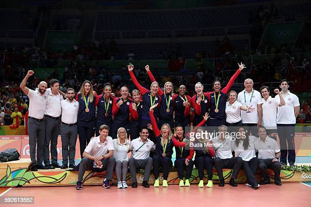 Team United State celebrates winning bronze on Day 15 of the Rio 2016 Olympic Games at the Maracanazinho on August 20 2016 in Rio de Janeiro Brazil