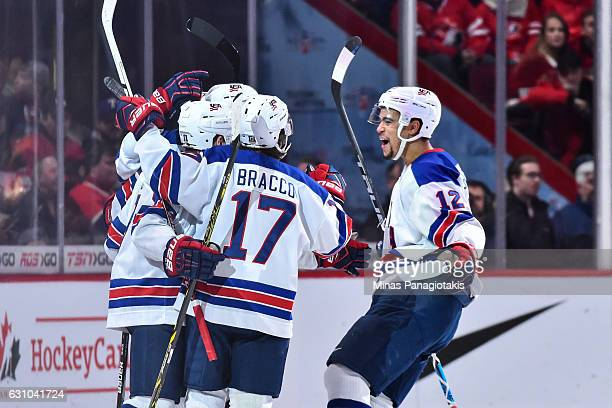 Team United States celebrates a goal in the second period during the 2017 IIHF World Junior Championship gold medal game against Team Canada at the...
