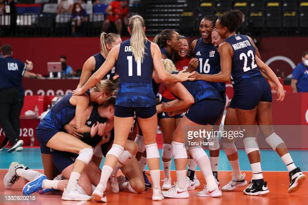 Team United States celebrates after defeating Team Serbia during the Women's Semifinals on day fourteen of the Tokyo 2020 Olympic Games at Ariake...