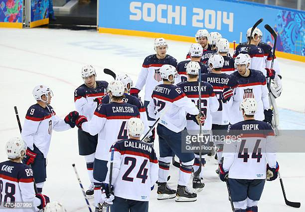 Team United States celebrates after defeating the Czech Republic 5 to 2 in the Men's Ice Hockey Quarterfinal Playoff on Day 12 of the 2014 Sochi...