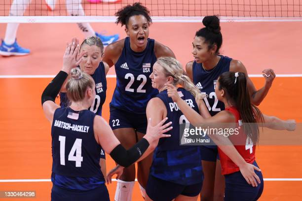 Team United States celebrates after scoring a point against Team Argentina during the Women's Preliminary - Pool B on day two of the Tokyo 2020...