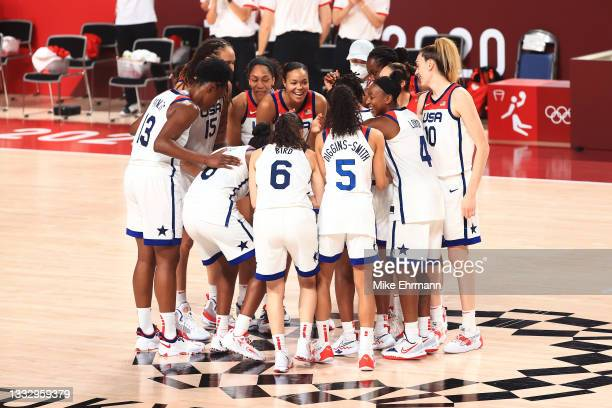 Team United States celebrates after winning the gold medal in the Women's Basketball final against Team Japan on day sixteen of the 2020 Tokyo...