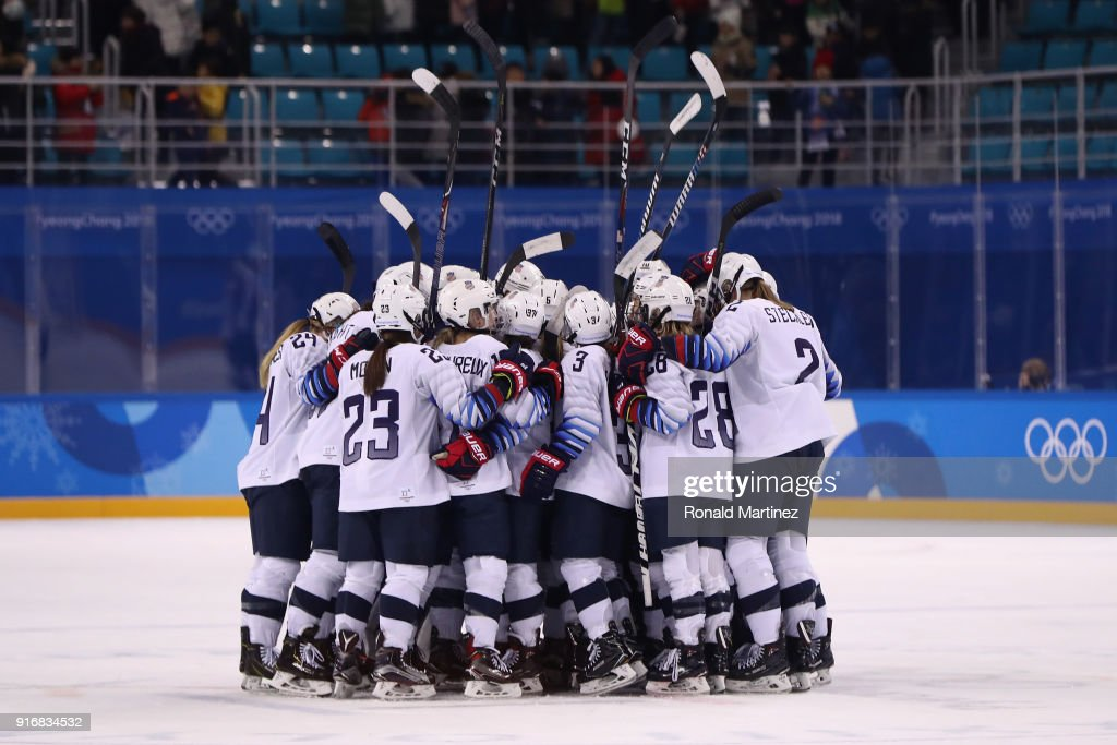 Team United States celebrates defeating Team Finland 3-1 in the Women's Ice Hockey Preliminary Round - Group A game on day two of the PyeongChang 2018 Winter Olympic Games at Kwandong Hockey Centre on February 11, 2018 in Gangneung, South Korea.