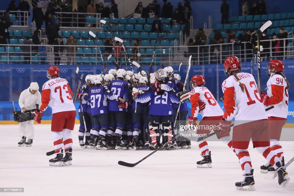 Team United States celebrates defeating Team Olympic Athletes from Russia 5-0 in the Women's Ice Hockey Preliminary Round - Group A game on day four of the PyeongChang 2018 Winter Olympic Games at Kwandong Hockey Centre on February 13, 2018 in Gangneung, South Korea.