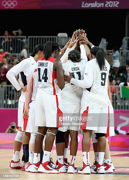 Team United States celebrates their 8156 victory over Croatia during Women's Basketball on Day 1 of the London 2012 Olympic Games at the Basketball...
