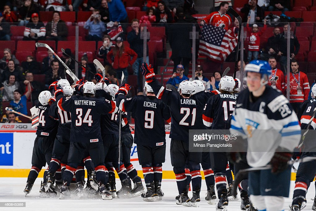 Team United States celebrates their victory over Team Finland during the 2015 IIHF World Junior Hockey Championship game at the Bell Centre on December 26, 2014 in Montreal, Quebec, Canada. Team United States defeated Team Finland 2-1 in a shootout.