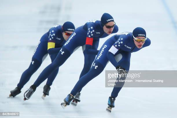 Team United States compete in the ladies team pursuit during day three of the World Junior Speed Skating Championships at Oulunkyla Sports Park on...
