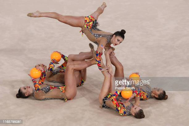 Team United States competes during rhythmic gymnastics Individual All Around and Qualifications Team Ball on Day 7 of Lima 2019 Pan American Games at...